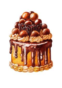 Schöner karamell verzierter schokoladenkuchen des aquarells auf weiß lokalisiert