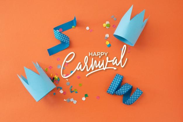 Schöner karneval mit rahmen und partydekoration