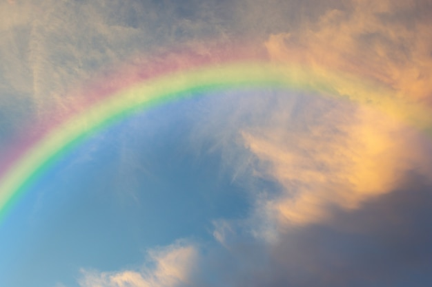 Schöner klassischer regenbogen über im blauen himmel nach dem regen