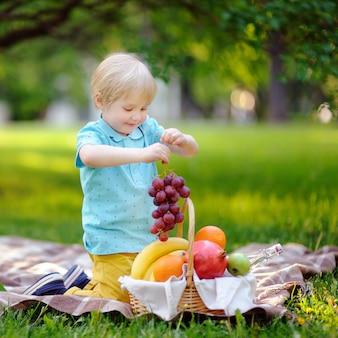 Schöner kleiner junge, der ein picknick im sonnigen park des sommers hat