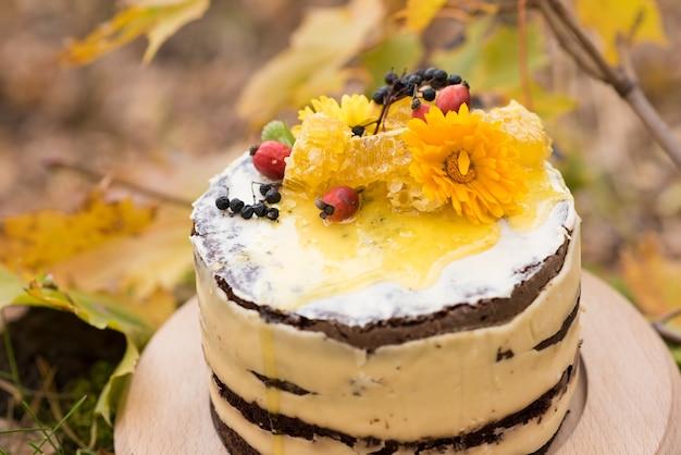 Schöner kuchen mit blumen, honig und beeren im freien
