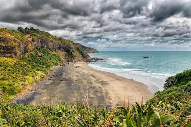 Schöner leerer schwarzer sandstrand an der maori-bucht nahe muriwai-strand, nordinsel, neuseeland