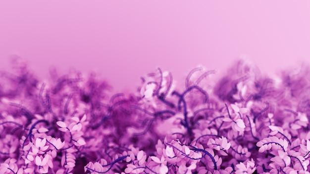Schöner lila hintergrund mit blättern, jahreszeit. 3d-rendering.