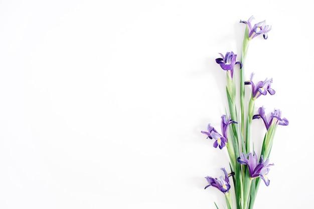 Schöner lila irisblumenblumenstrauß auf weißem hintergrund. flache lage, ansicht von oben
