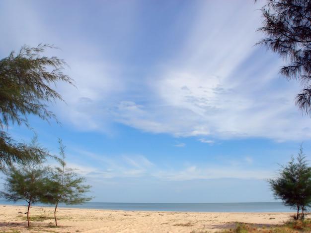 Schöner meerblick des strandes und des himmels mit weißer wolke im sommer