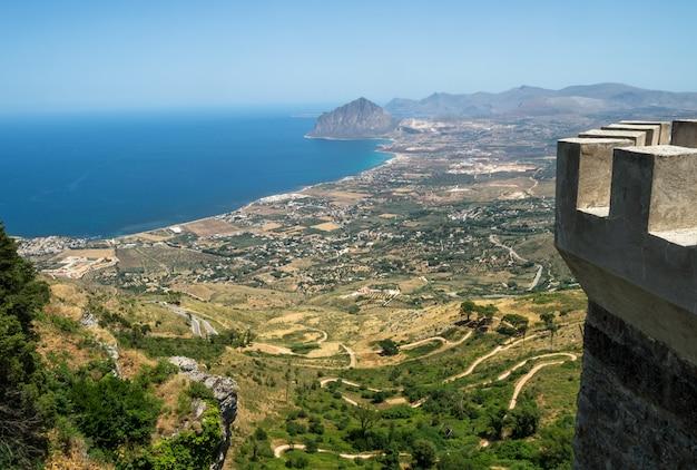 Schöner panoramablick von erice.