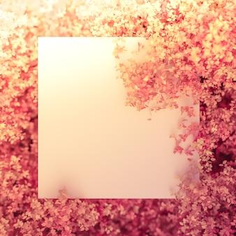 Schöner rosa hintergrund mit blättern, jahreszeit. 3d-rendering.