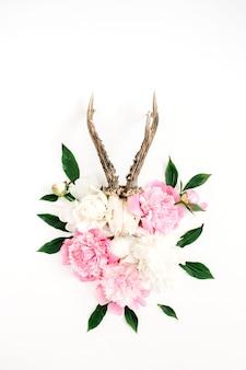 Schöner rosa und weißer pfingstrosenblumenstrauß und ziege, hörner auf weiß