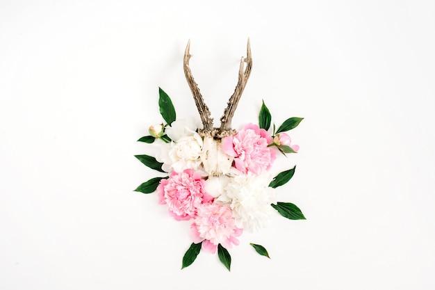 Schöner rosa und weißer pfingstrosenblumenstrauß und ziegenhörner auf weiß
