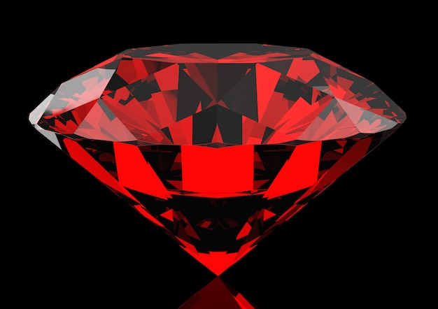 Schöner roter rubin auf einem dunklen