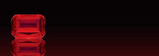 Schöner roter rubin selten auf dunkelheit