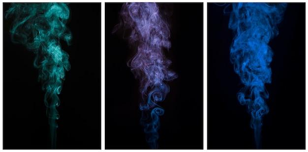Schöner satz abstrakter beweglicher rauch auf schwarzem hintergrund
