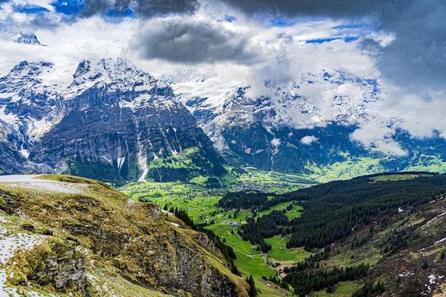 Schöner schuss der schneebedeckten alpen und der grünen täler in grindelwald, schweiz