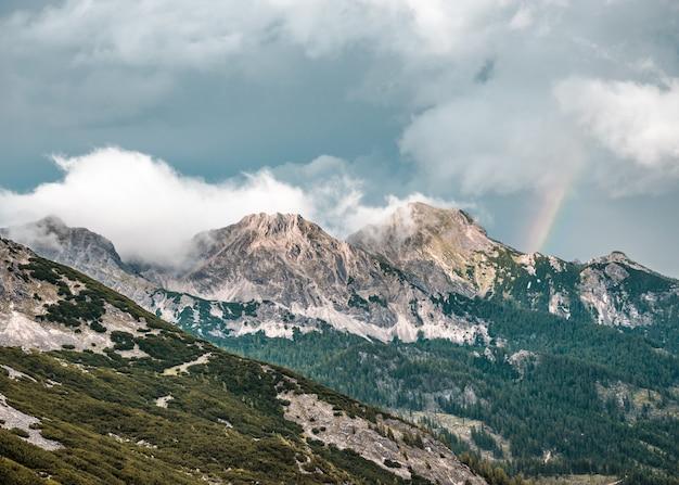 Schöner schuss des bewaldeten berges unter einem blauen bewölkten himmel in grober priel