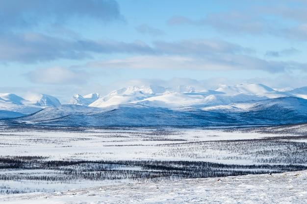 Schöner schuss des schneebedeckten feldes und der berge in der ferne im norden schwedens