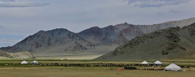 Schöner schuss des tals des grünen berges und eines bewölkten himmels