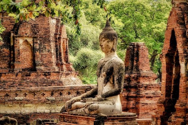 Schöner schuss einer alten buddha-statue