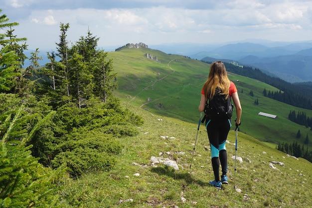 Schöner schuss einer wanderin, die im berg unter dem blauen himmel im sommer wandert