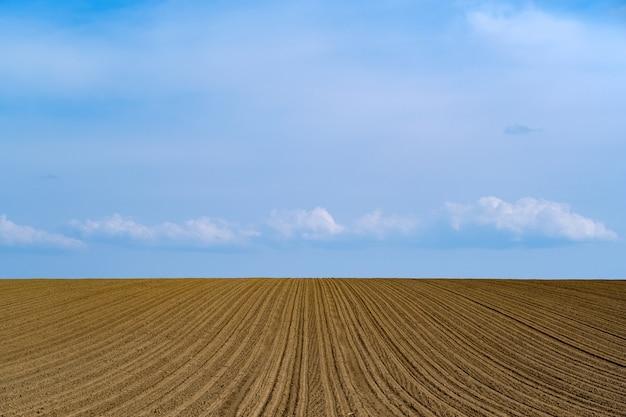 Schöner schuss eines frisch gepflügten bauernhoffeldes auf einem blauen himmel