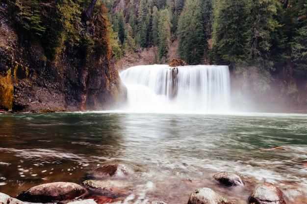 Schöner schuss eines schönen großen breiten wasserfalls in einem wald, der durch grün umgeben wird