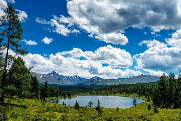 Schöner see im altai-gebirge, sibirien, russland. wilder bergsee durch schneebedeckte gipfel. sommerlandschaft in den bergen.