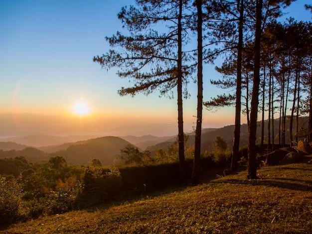 Schöner sonnenaufgang mit gebirgs- und morgennebel