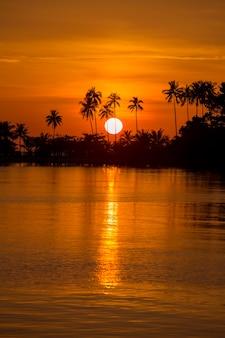 Schöner sonnenuntergang am strand, meerwasser und kokospalmenschattenbild, thailand