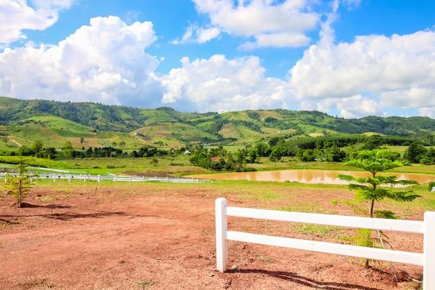 Schöner stausee und grüne wiese auf dem berg mit schönem blauem himmel