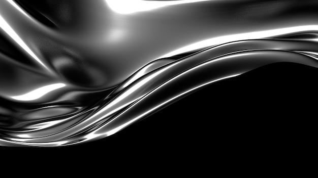 Schöner stilvoller schwarzer hintergrund mit falten, drapiert und wirbelt 3d-illustrations-rendering
