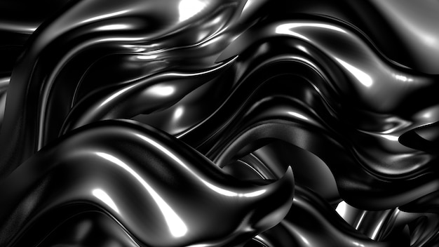 Schöner stilvoller schwarzer hintergrund mit falten, vorhängen und strudeln. 3d-rendering.