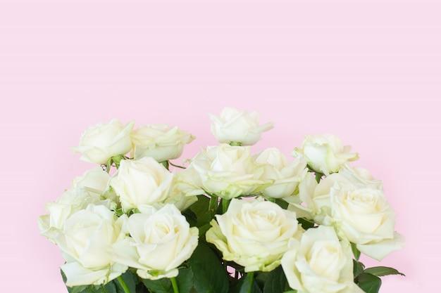 Schöner strauß der weißen rosen auf rosa hintergrund