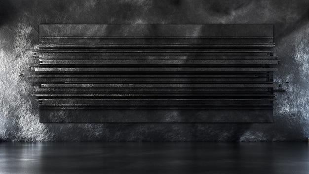 Schöner studio inneninstallationsraum textur stein. 3d-illustration, 3d-rendering.