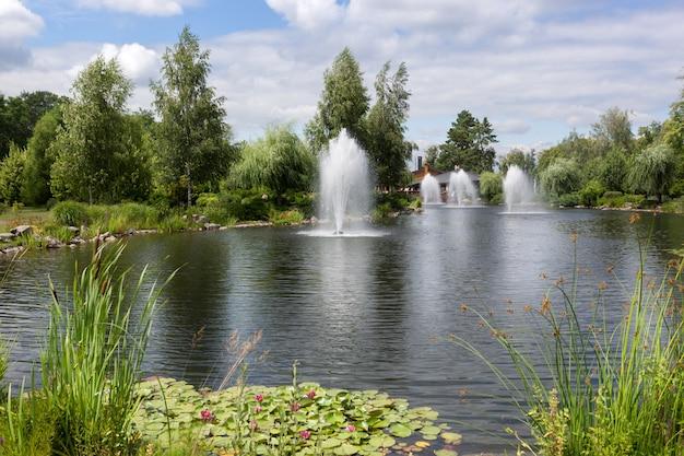 Schöner teich mit springbrunnen im formalen garten