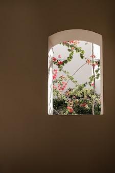 Schöner tropischer pflanzenbaum mit roten blüten im beigen gebäudefenster