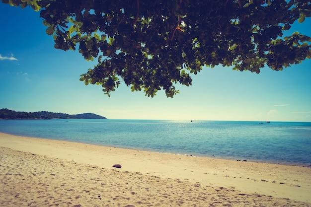 Schöner tropischer strand und meer mit weißer wolke am blauen himmel