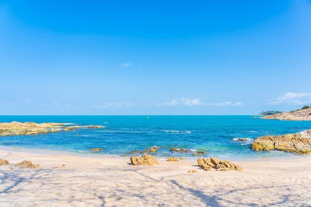 Schöner tropischer strandmeeresozean mit kokospalme um weißen wolkenblauen himmel für urlaubsreisehintergrund