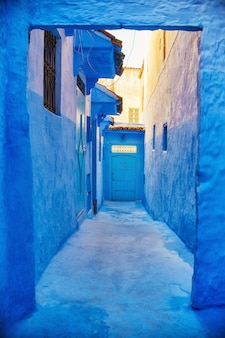 Schöner verschiedener satz blaue türen der blauen stadt