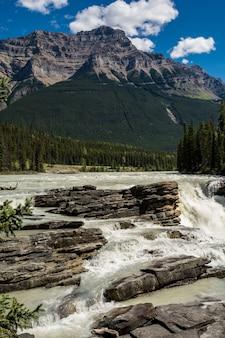 Schöner wasserfall. athabasca fällt in einen tiefen canyon im norden kanadas. jasper, kanada, athabasca falls, acefield pkwy, wandern