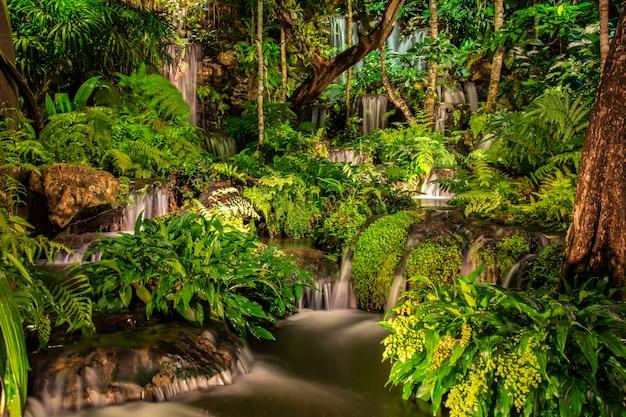 Schöner wasserfall auf einen felsen nachts mit bäumen in der schönen natur