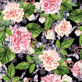 Schönes aquarell nahtlose muster mit blumen aus rose, pfingstrose, lavendel und baumwolle. illustration