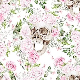 Schönes aquarell nahtlose muster mit totenkopf und blumen aus pfingstrose und rosen. illustration