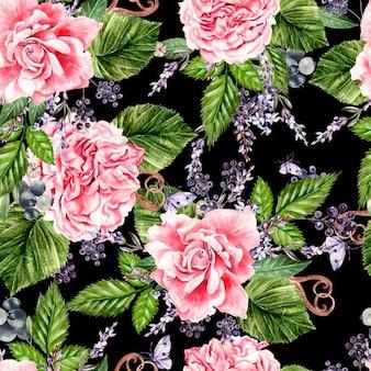 Schönes aquarell nahtloses muster mit blumen von rose, pfingstrose, lavendel. illustration
