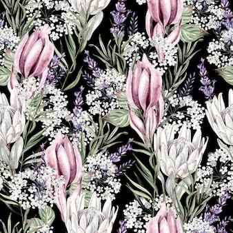 Schönes aquarell nahtloses muster mit proteablumen. illustration
