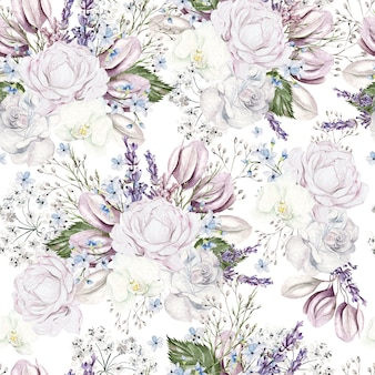 Schönes aquarell nahtloses muster mit rosen und pfingstrosenblumen. illustration