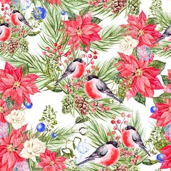 Schönes aquarell weihnachtsmuster mit gimpel vögeln