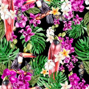 Schönes aquarellmuster mit orchideenblüten, tropischen blättern und vögeln. illustration.