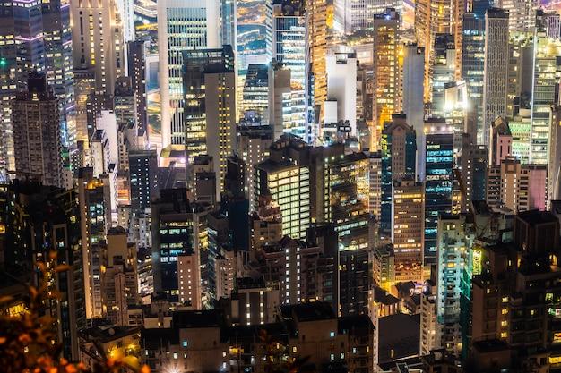Schönes architekturgebäude-außenstadtbild von hong- kongstadtskylinen