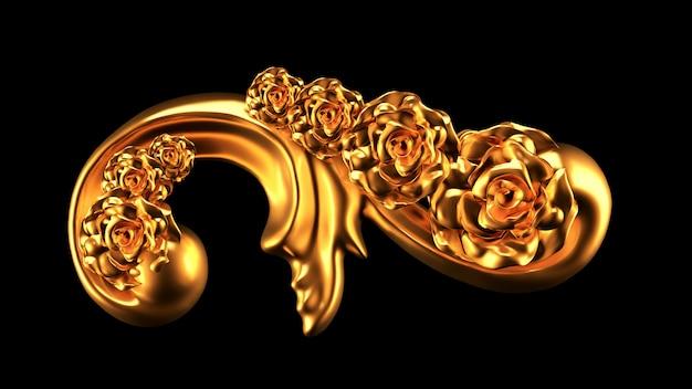 Schönes element, gold, rose, stuck, ornament, rahmen. 3d-rendering.