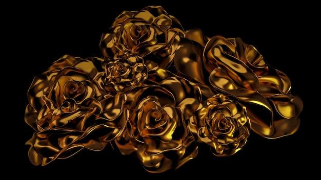 Schönes element goldblumenornament. 3d-illustration, 3d-rendering.
