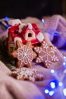 Schönes geschmackvolles selbst gemachtes plätzchen in form einer mündung eines rotwilds auf einem hölzernen behälter. weihnachtsessen